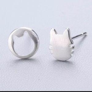 Sterling Silver 925 Cat Stud Earrings